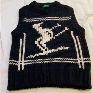 Vintage Knit Black & White Sweater Vest